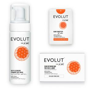 Evolut combo of face wash, handsanitizer and skin refining bar