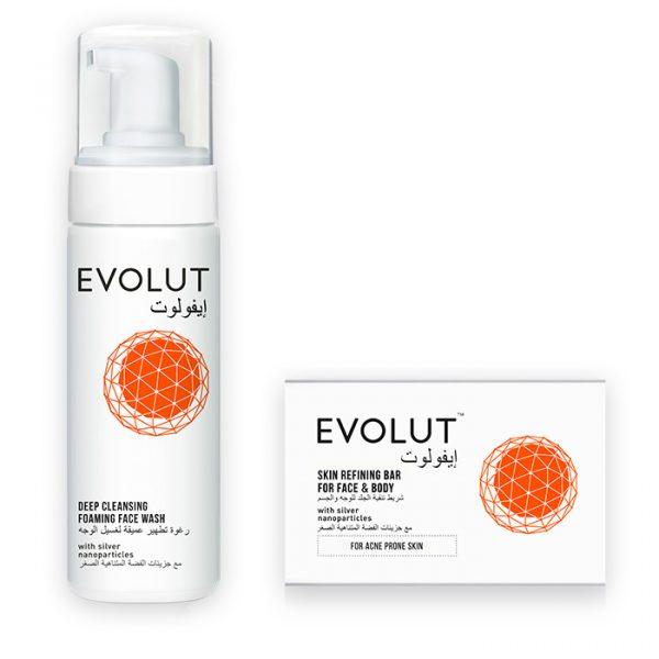 Evolut foaming facewash with skin refining bar