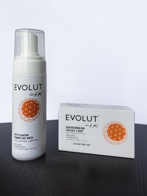 Evolut face wash and bar
