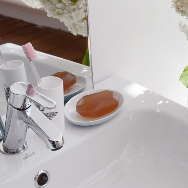 soap on wash basin with tooth brush